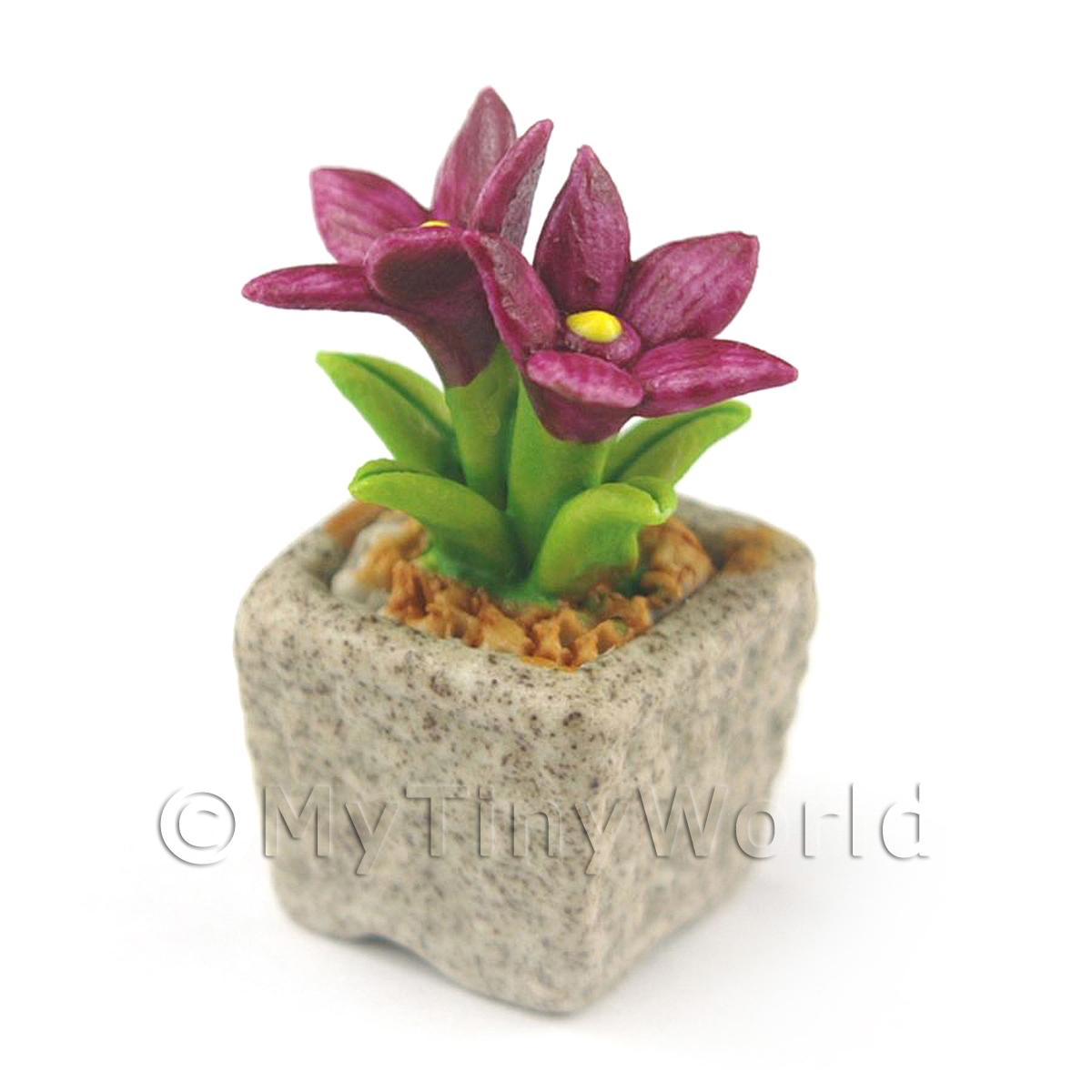 Miniature Handmade Purple Coloured Ceramic Flower (CFPU10)