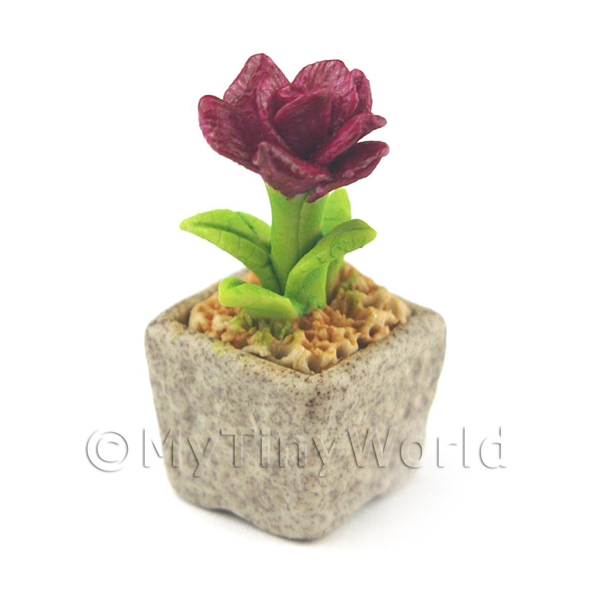 Miniature Handmade Purple Coloured Ceramic Flower (CFPU3)