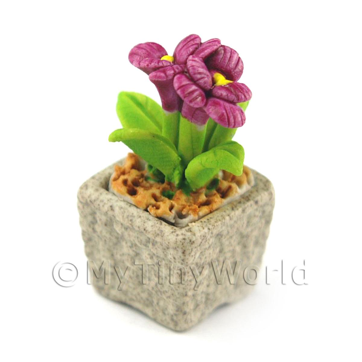 Miniature Handmade Purple Coloured Ceramic Flower (CFPU7)