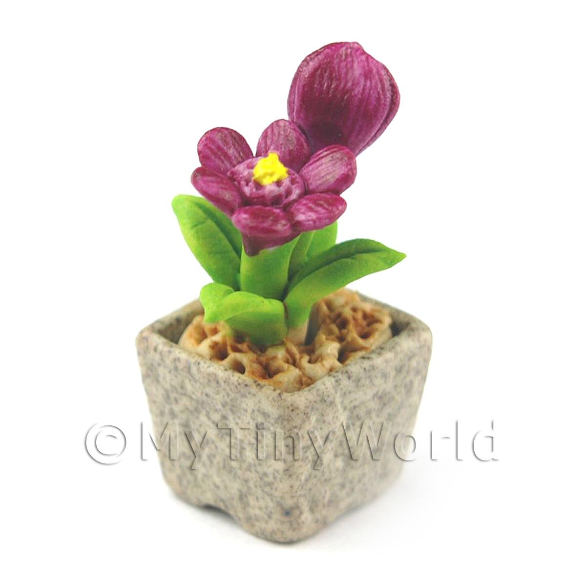 Miniature Handmade Purple Coloured Ceramic Flower (CFPU14)