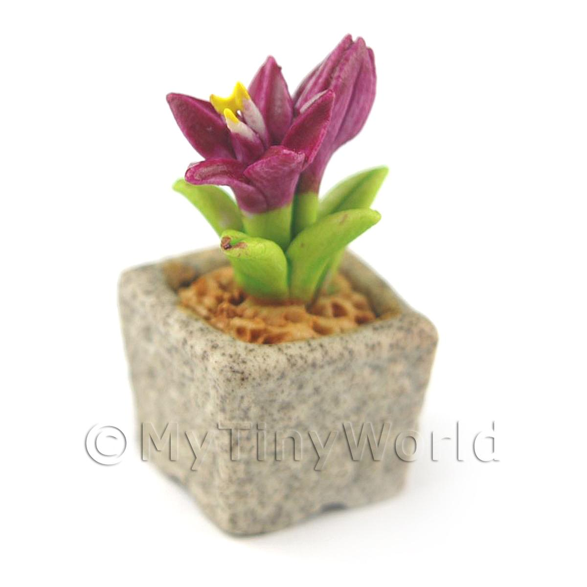 Miniature Handmade Purple Coloured Ceramic Flower (CFPU12)