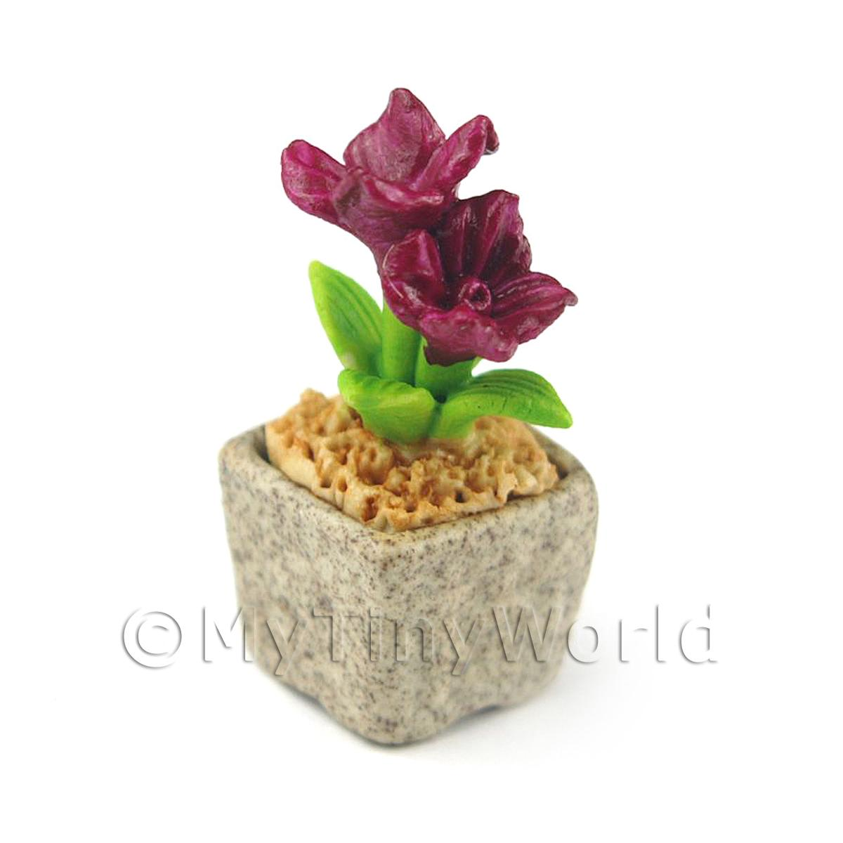 Miniature Handmade Purple Coloured Ceramic Flower (CFPU1)
