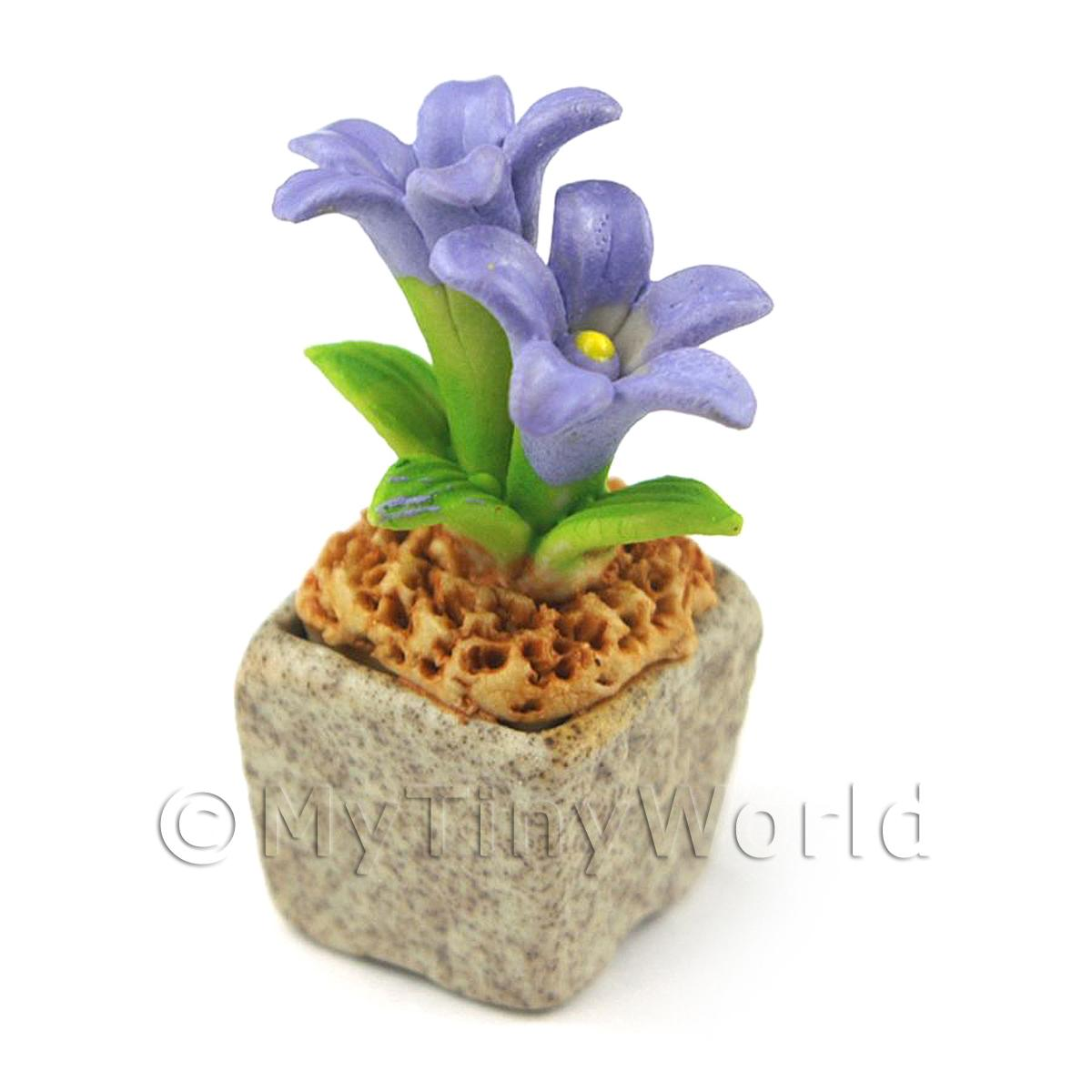 Miniature Handmade Violet Coloured Ceramic Flower (CFV8)
