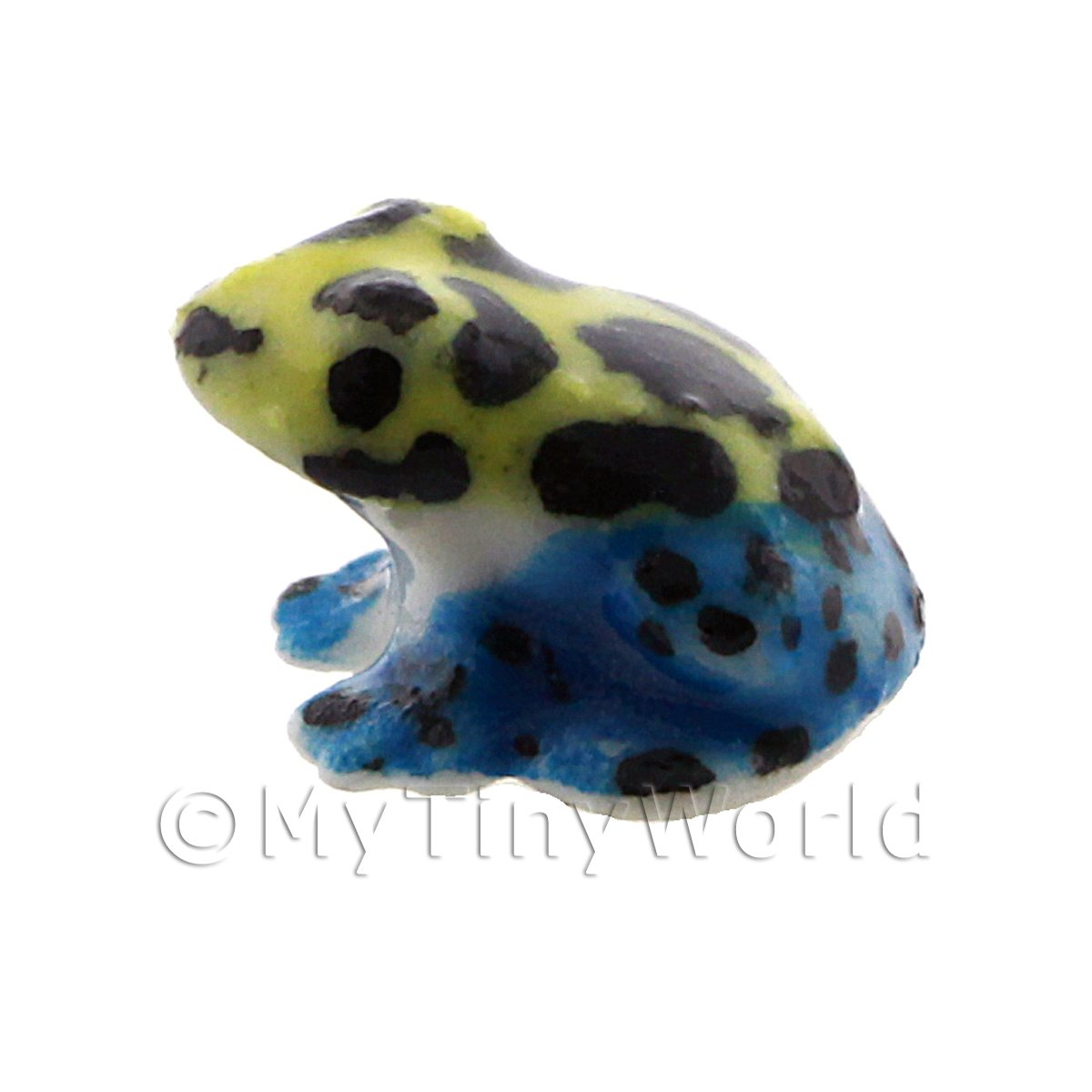 Dolls House Miniature Ceramic Blue and Yellow Poison Dart Frog