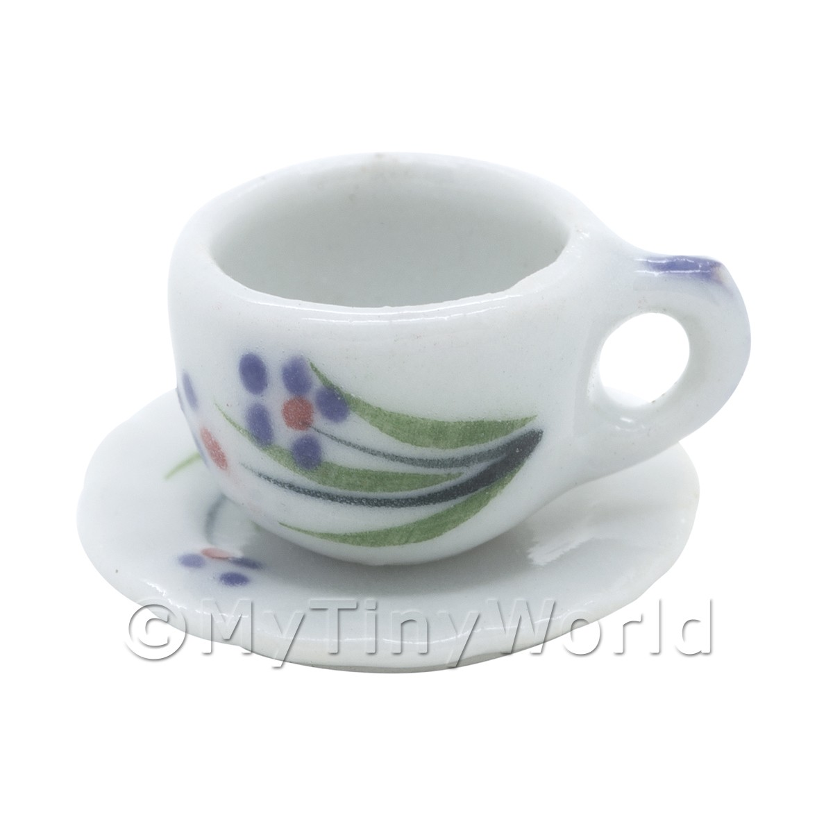 Dolls House Miniature Purple Flower Design Ceramic Cup and Saucer