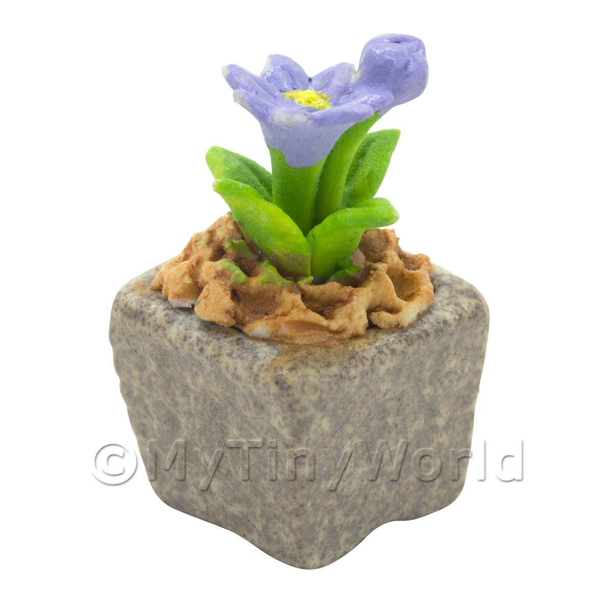 Miniature Handmade Violet Coloured Ceramic Flower (CFV18)