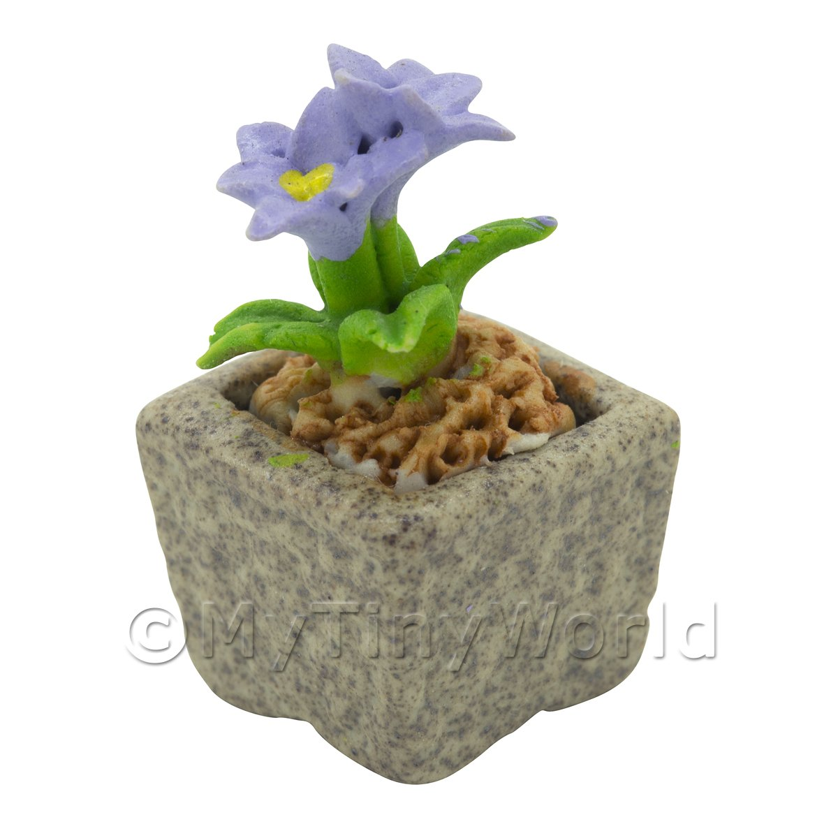Miniature Handmade Violet Coloured Ceramic Flower (CFV3)