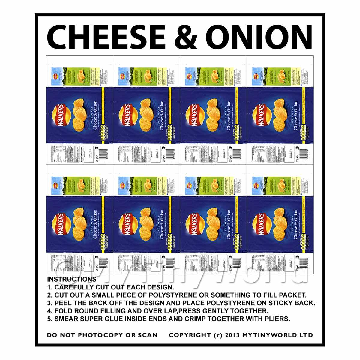 Dolls House Miniature Packaging Sheet of 8 Walkers Cheese & Onion Crisps