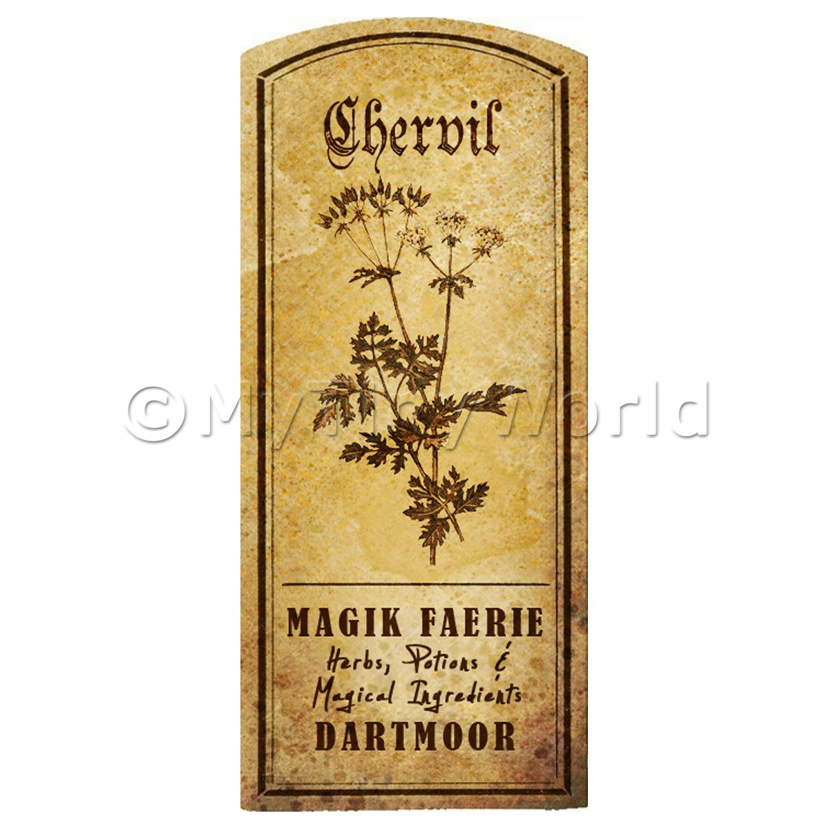 Dolls House Herbalist/Apothecary Chervil Herb Short Sepia Label