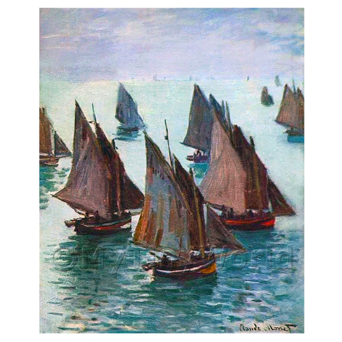 Claude Monet Painting Fishing Boats On A Calm Sea