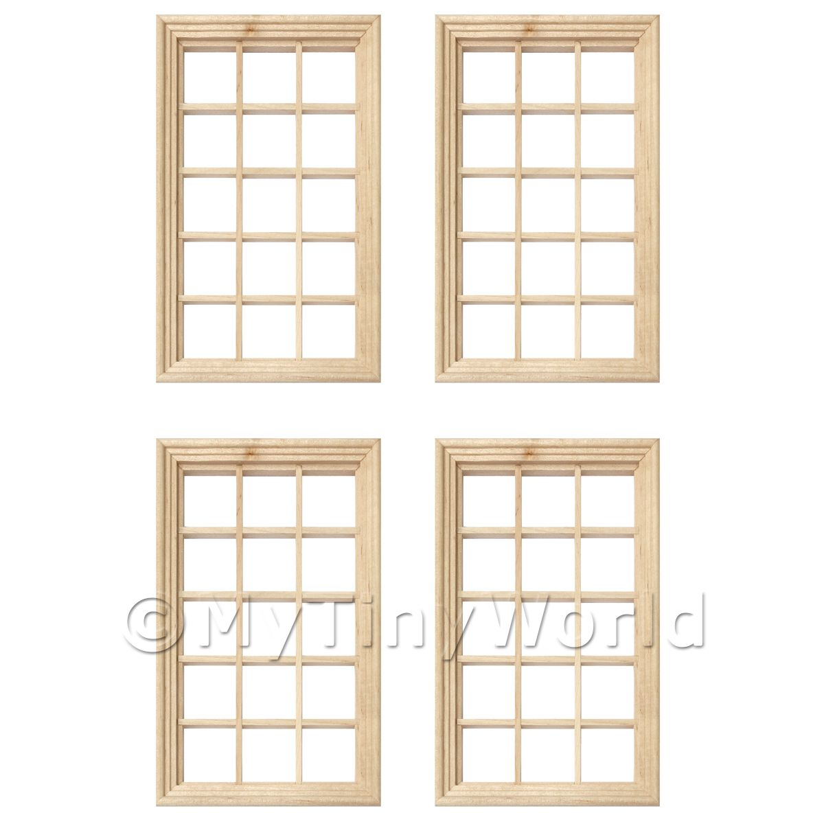 4 x Dolls House Miniature 15 Pane Georgian Windows And Glazing