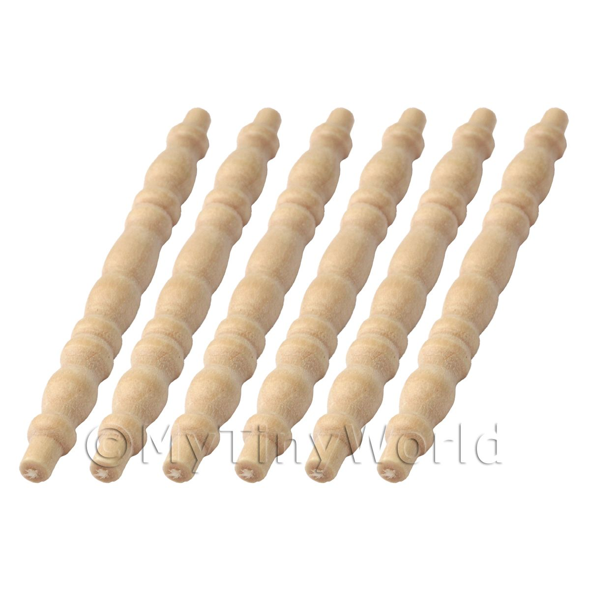 6 x Dolls House Miniature Rounded Wood Spindles (Style 8)