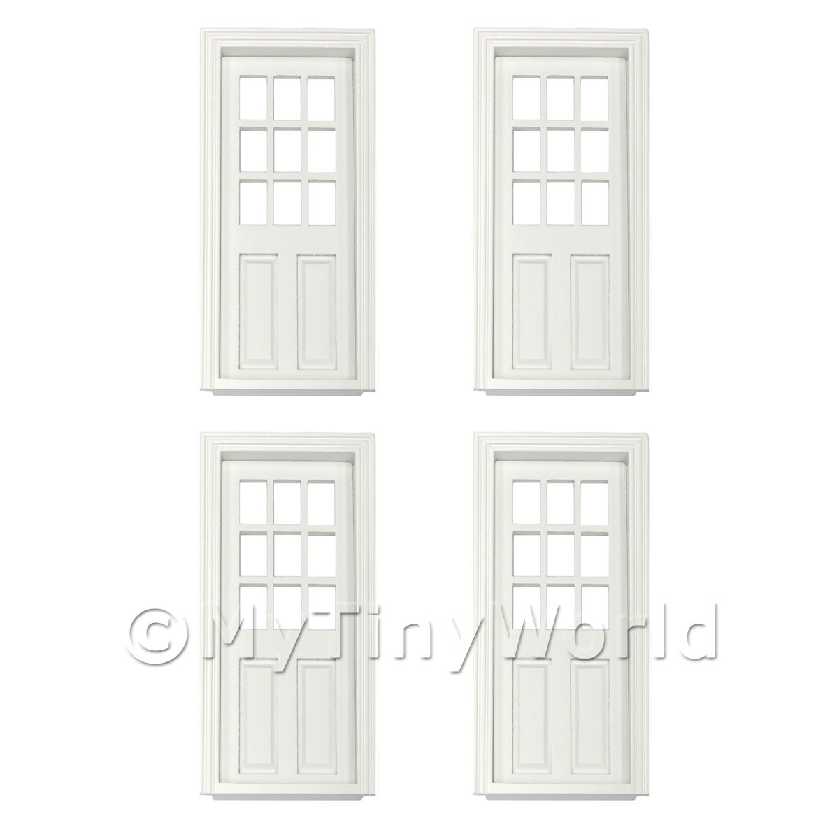 4 x Dolls House Miniature White Painted 9 Panel Glazed Wood Doors
