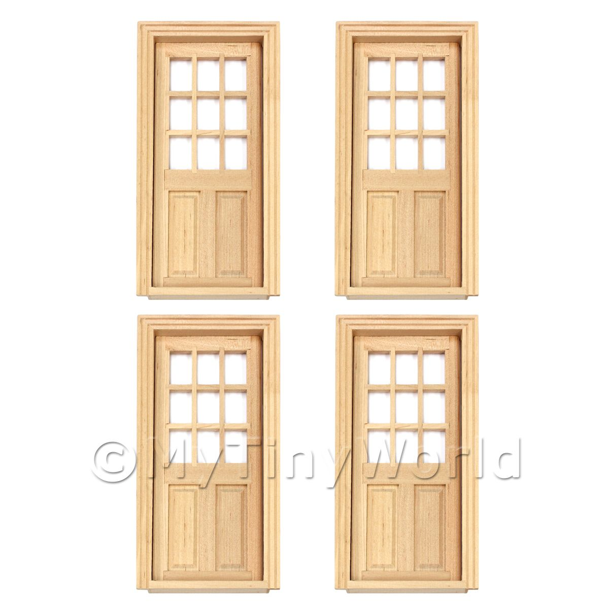 4 x Dolls House Miniature 9 Panel Glazed Wood Doors