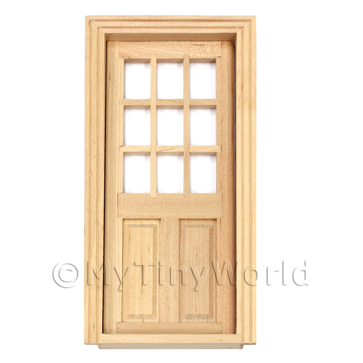 Dolls House Miniature 9 Panel Glazed Wood Door