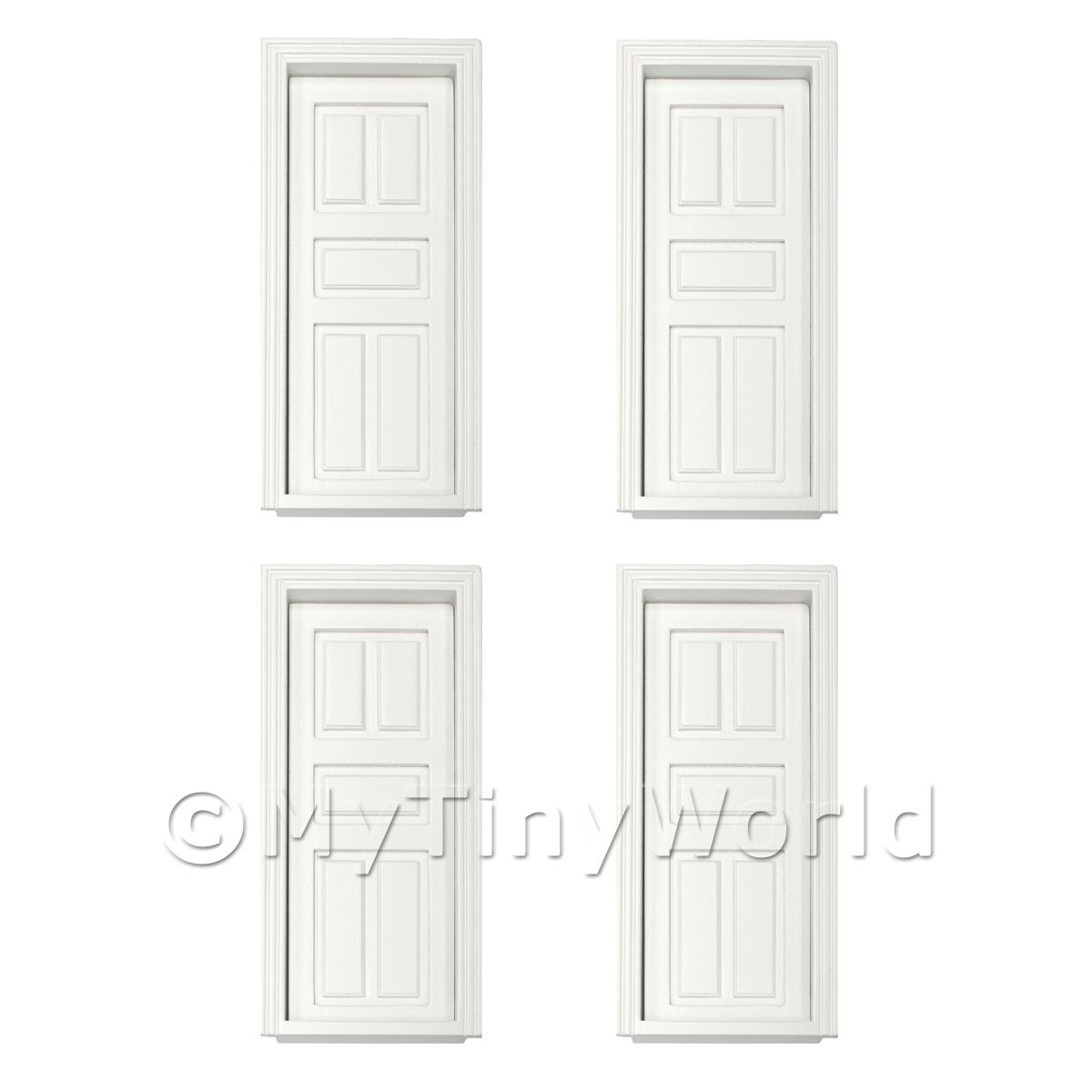 white wood door. 4 X Dolls House Miniature White Painted 5 Panel Wood Doors Door