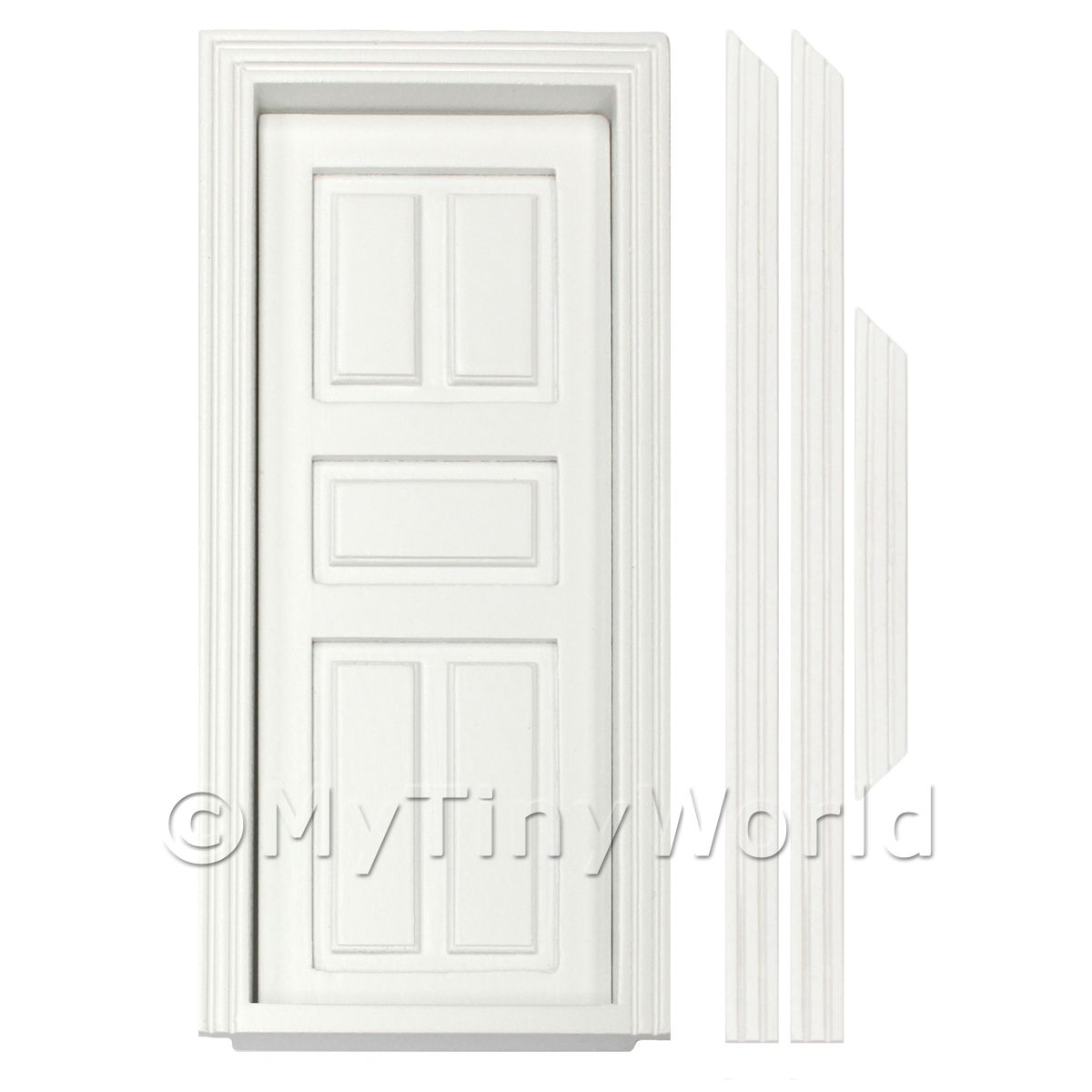 Dolls House Miniature Internal White Painted 5 Panel Wood Door