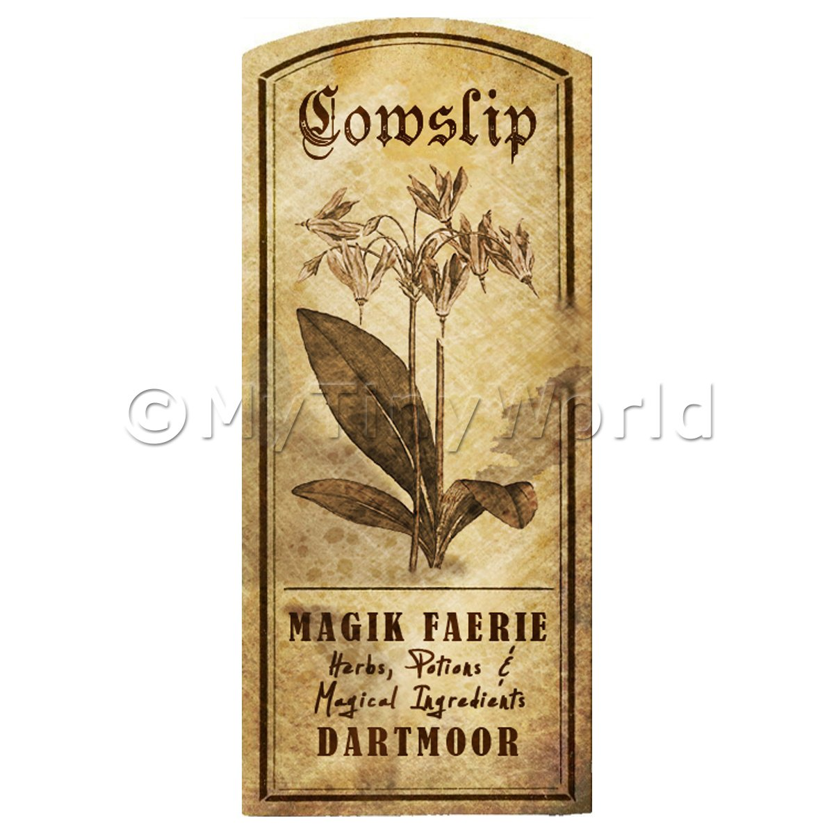 Dolls House Herbalist/Apothecary Cowslip Herb Short Sepia Label