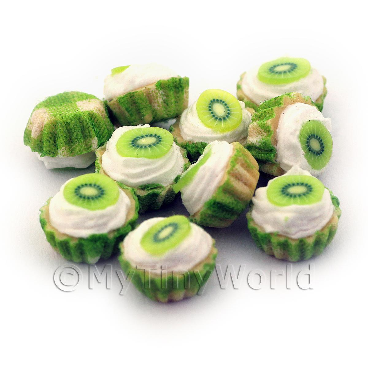 Miniature Kiwi And Cream Cupcake With A Green Paper Cup