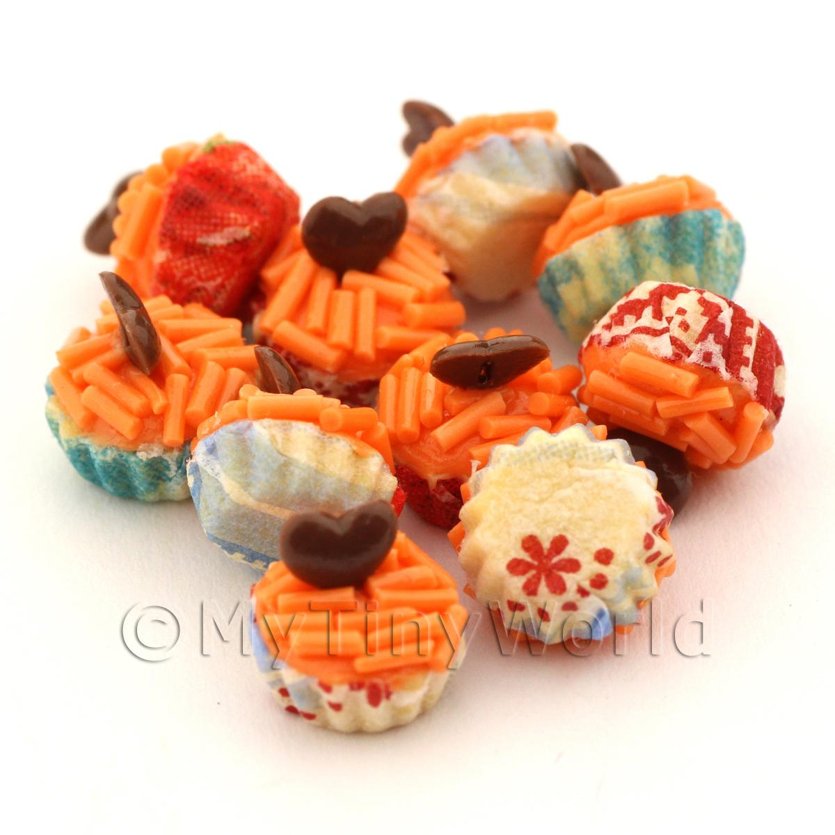 Miniature Orange Sprinkle With Choc Heart Cupcake With Mixed Colour Paper Cups