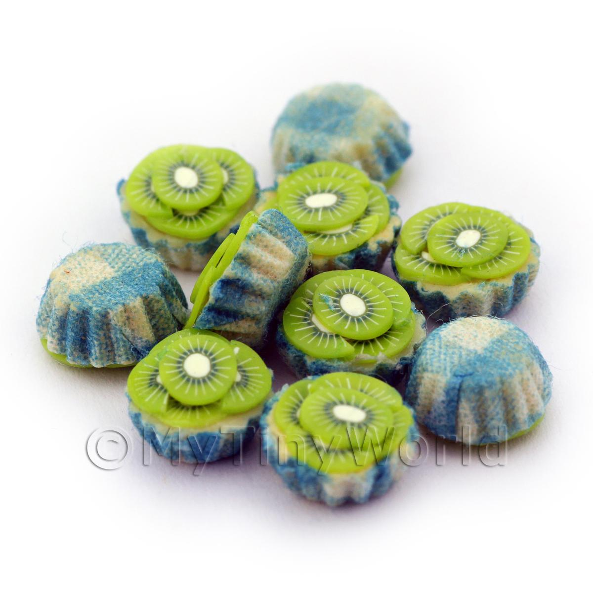 Miniature Kiwi And Cream Cupcake With A Blue Paper Cup
