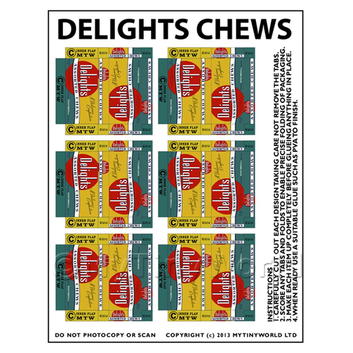 Dolls House Miniature Packaging Sheet of 6 Delights Chews