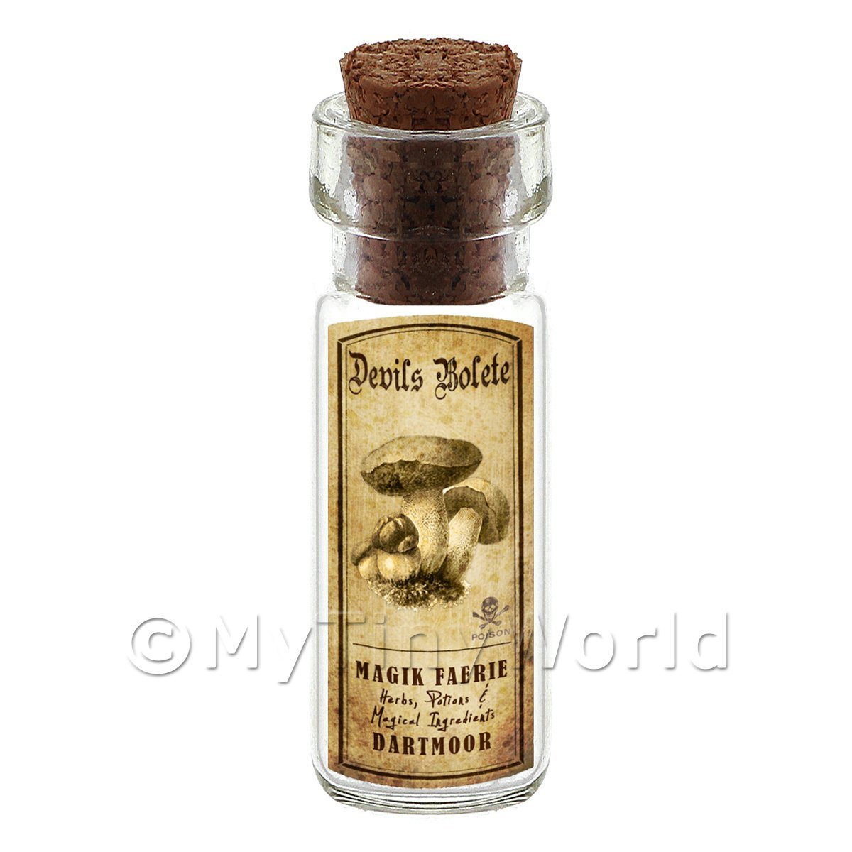 Dolls House Miniature Apothecary Devils Bolete Fungi Bottle And Label