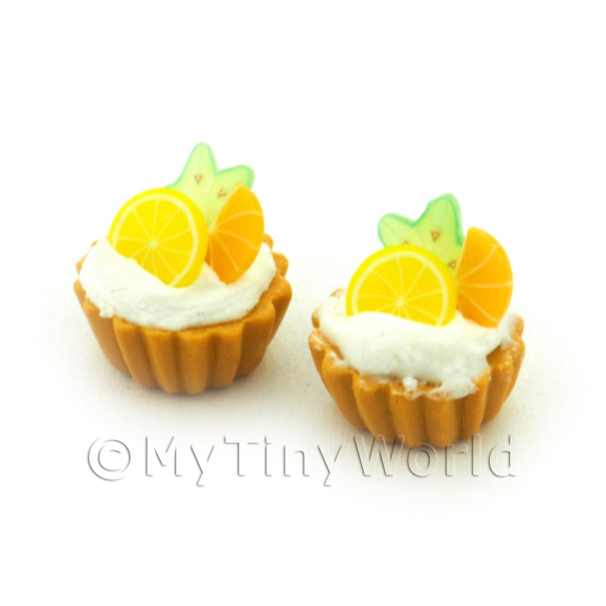 Dolls House Miniature Star Fruit, Lemon And Orange Tart