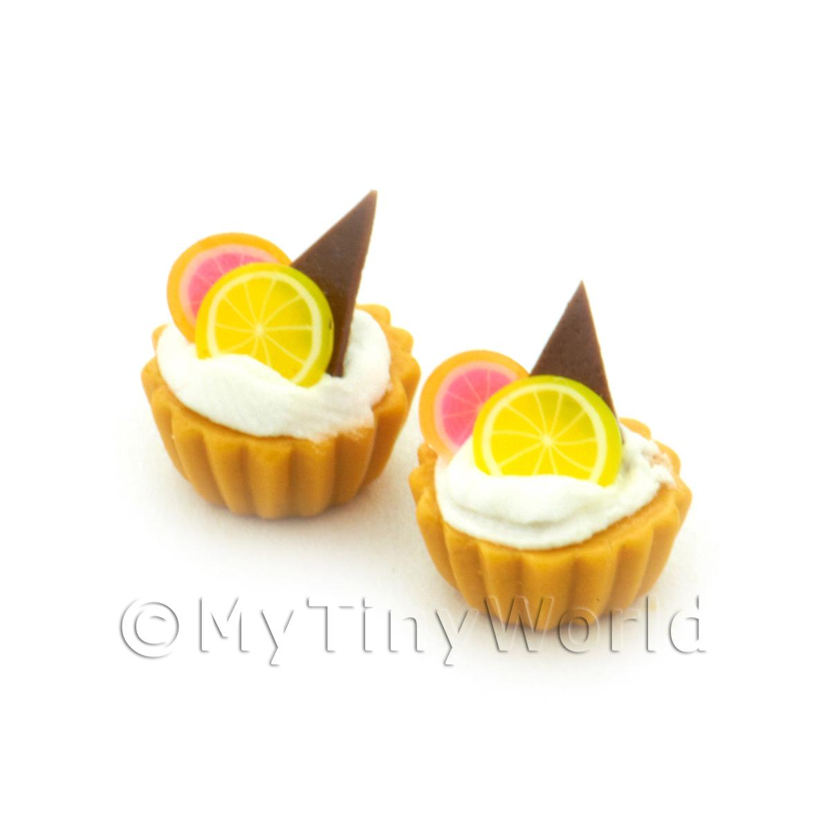Dolls House Miniature Grapefruit, Lemon And Chocolate Tart