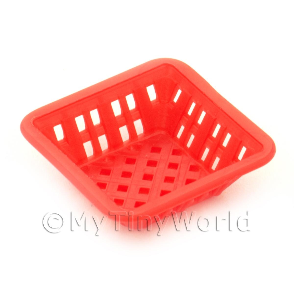 Medium Dark Red Dolls House Miniature Square Plastic Basket