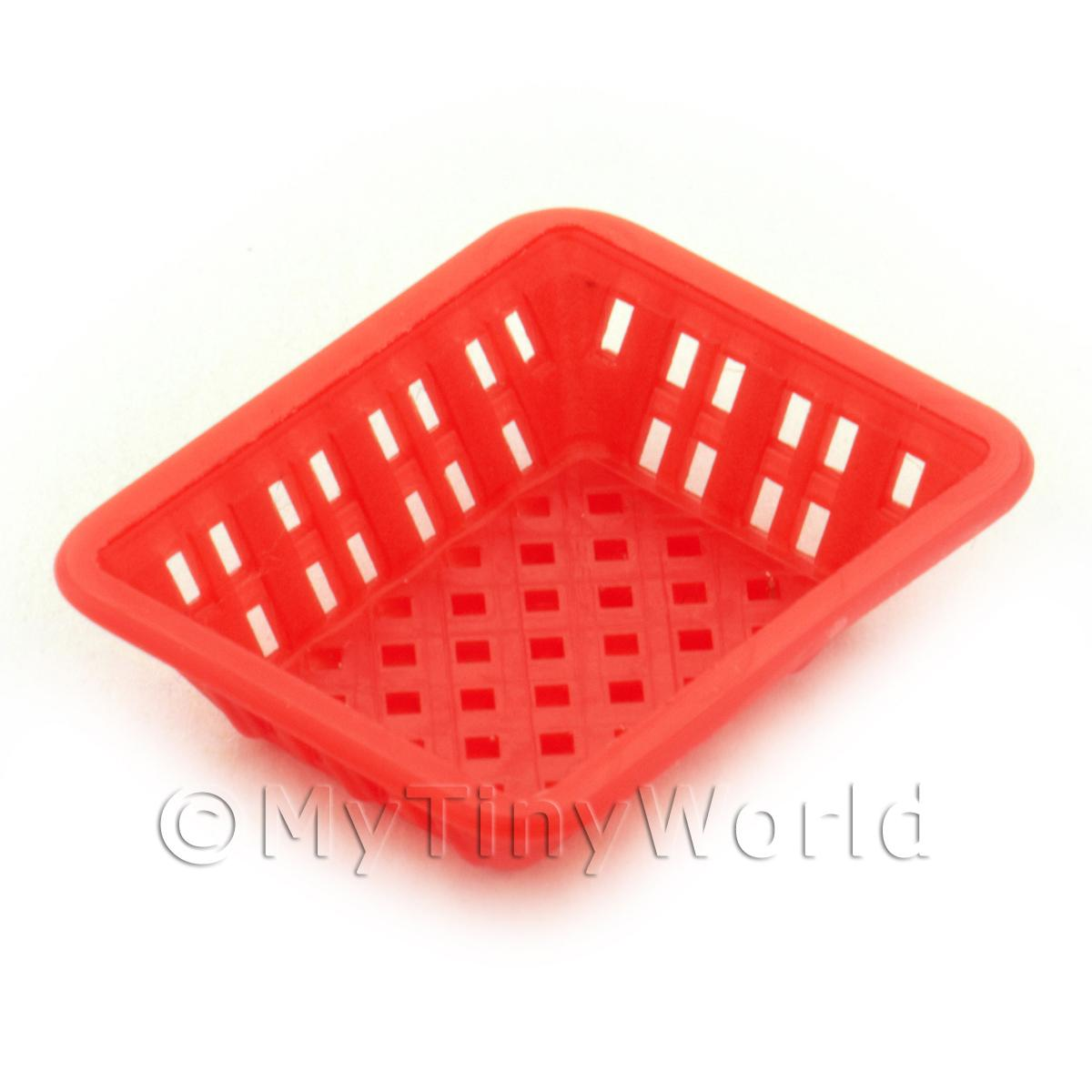Medium Dark Red Dolls House Miniature Retangular Plastic Basket