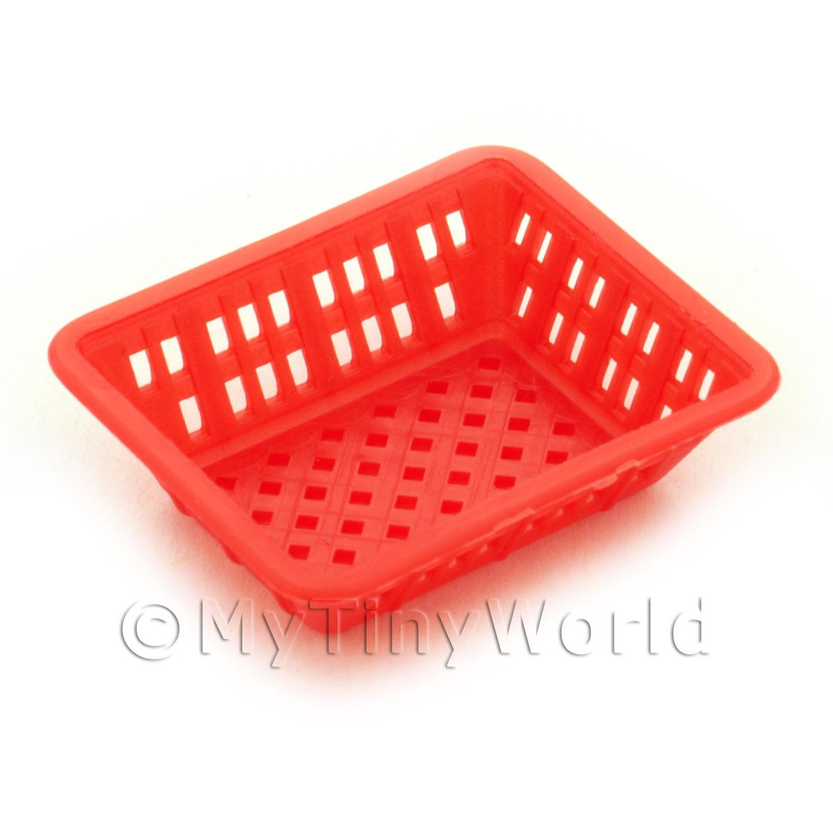 Large Dark Red Dolls House Miniature Retangular Plastic Basket
