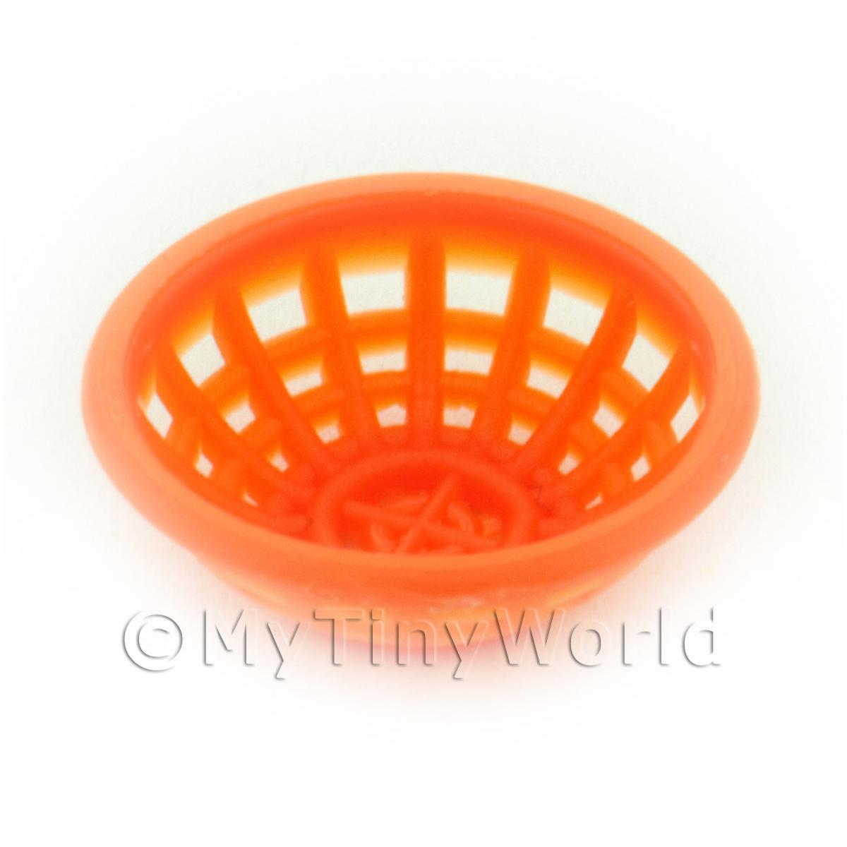 Small Dark Orange Dolls House Miniature Plastic Bowl