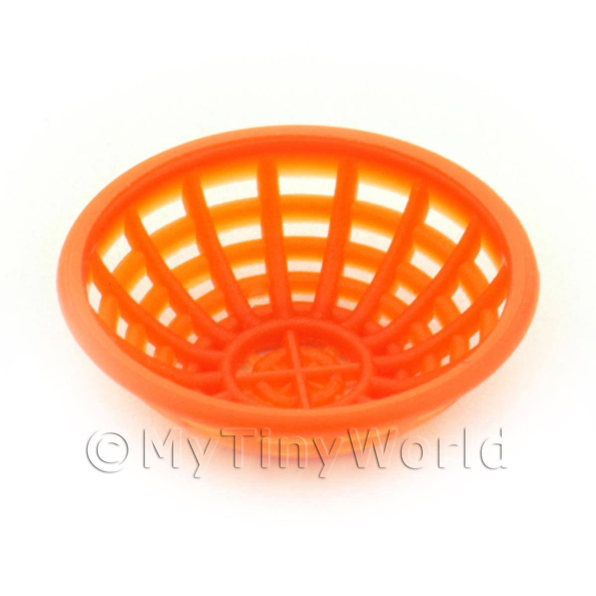 Medium Dark Orange Dolls House Miniature Plastic Bowl