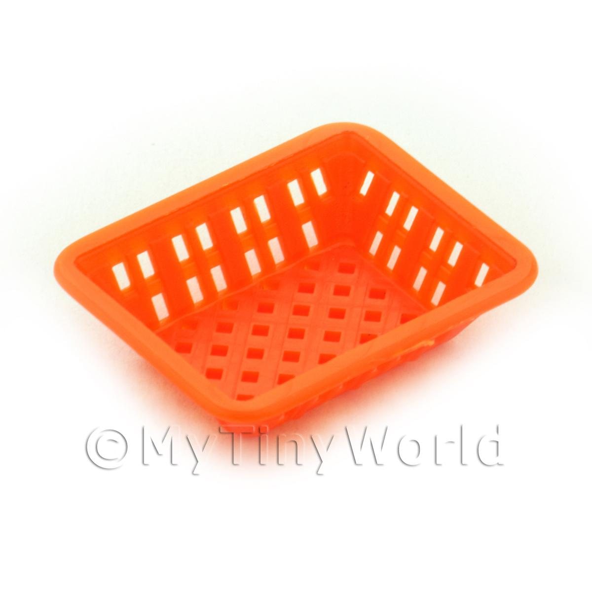 Medium Orange Dolls House Miniature Retangular Plastic Basket