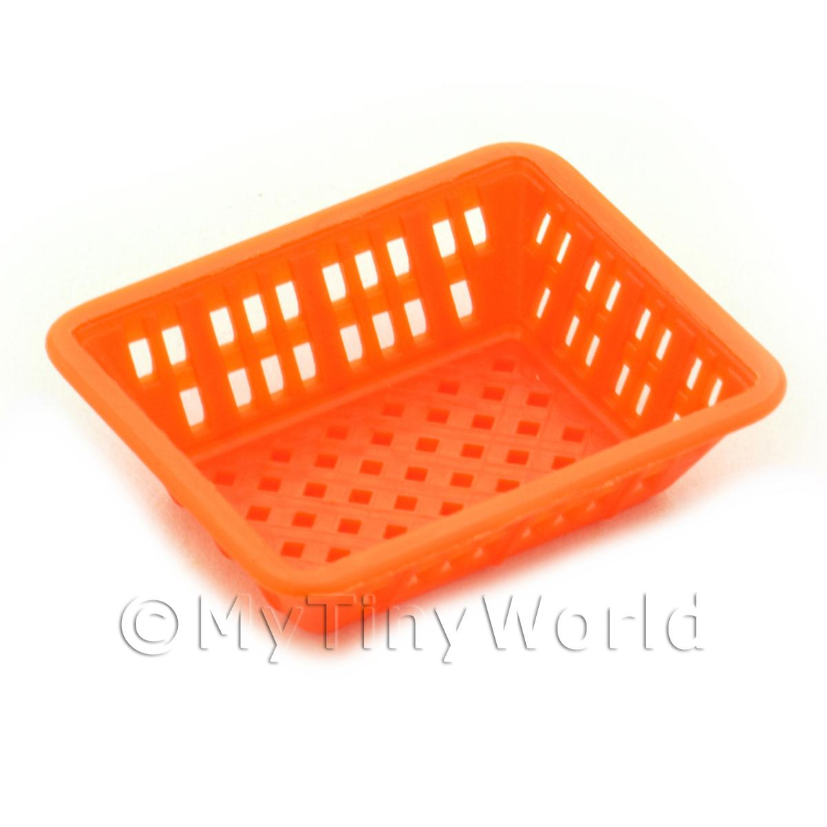 Large Orange Dolls House Miniature Retangular Plastic Basket