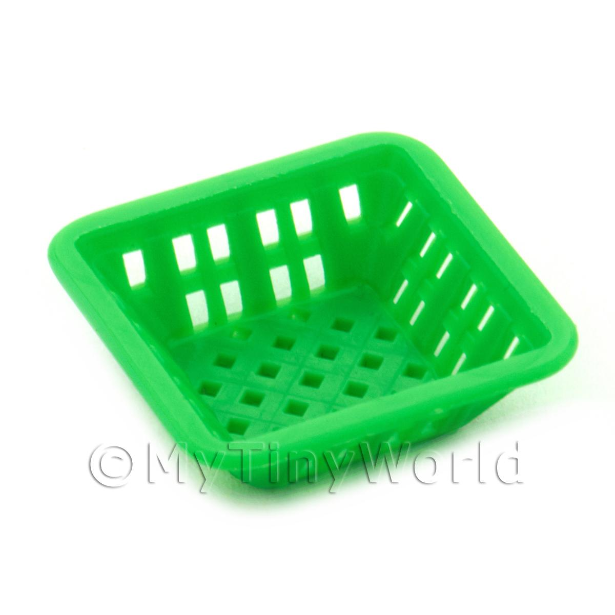 Medium Green Dolls House Miniature Square Plastic Basket