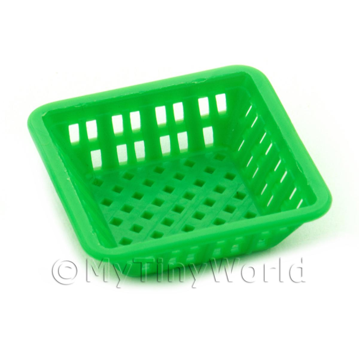 Large Green Dolls House Miniature Square Plastic Basket