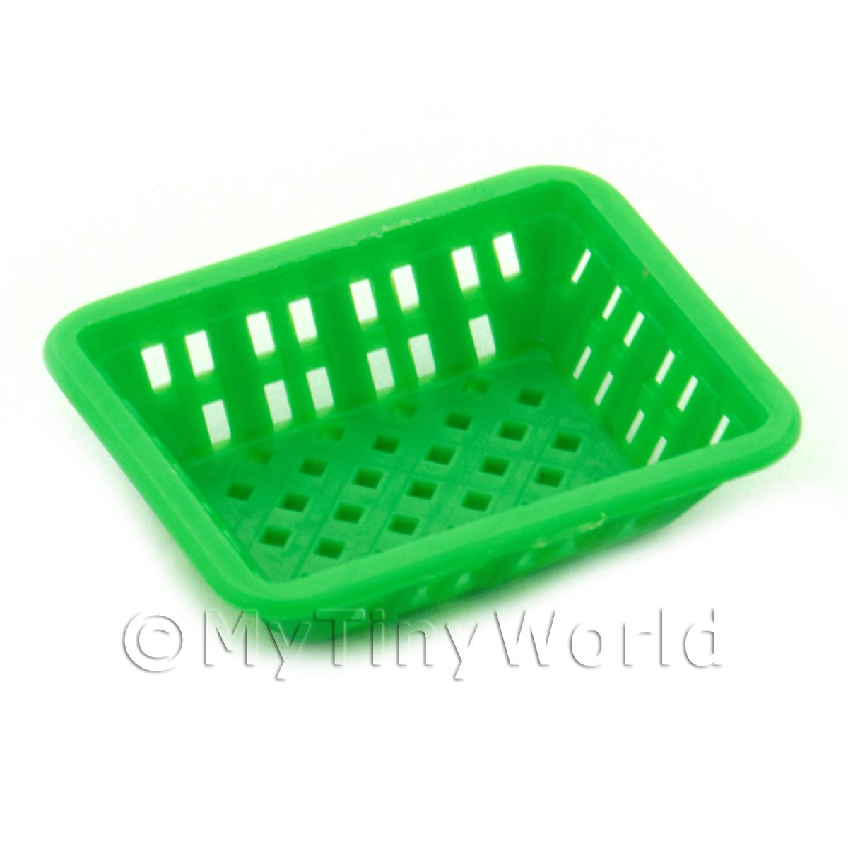 Medium Green Dolls House Miniature Retangular Plastic Basket