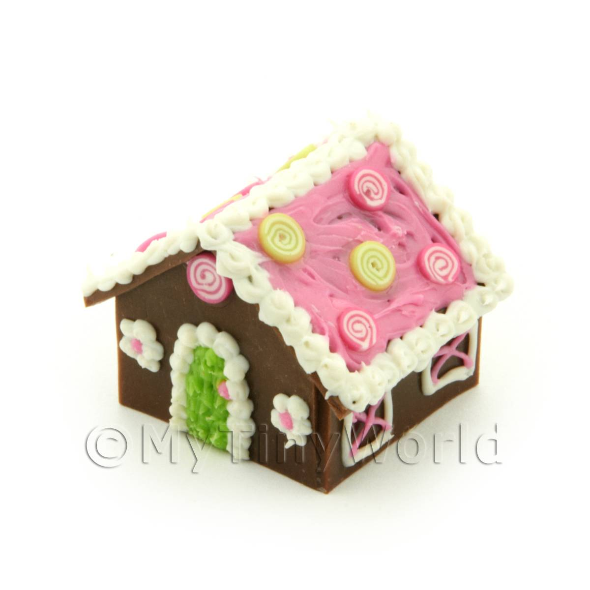 Dolls House Miniature Pink Roof Gingerbread House