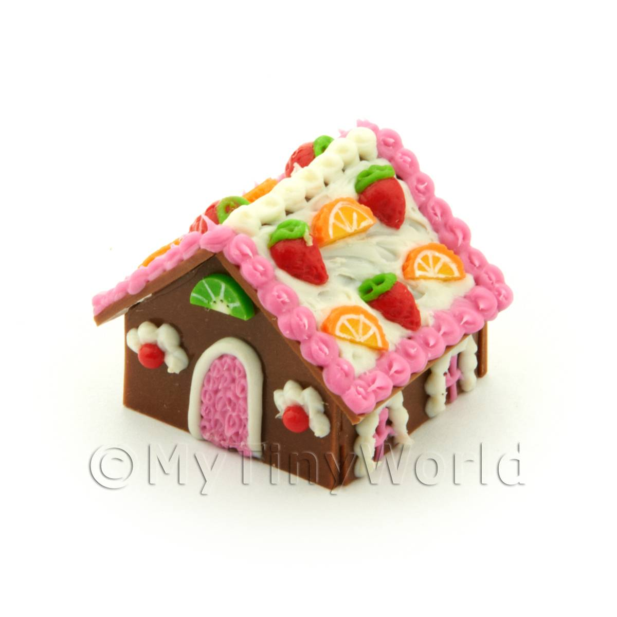 Dolls House Miniature Pink Trim Gingerbread House