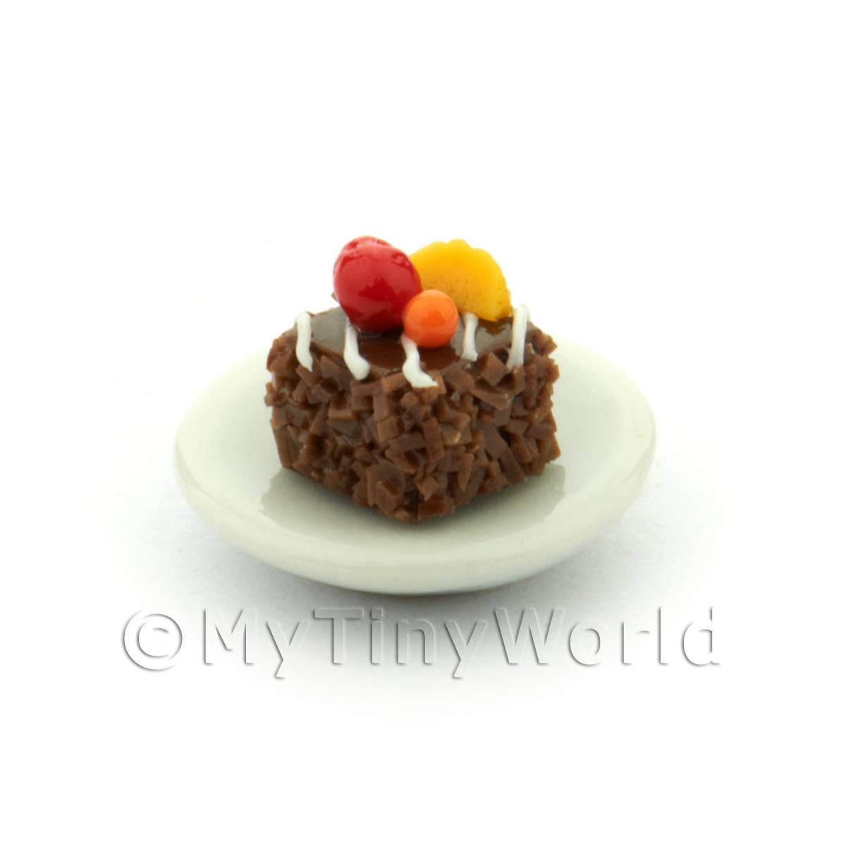 Dolls House Miniature Chocolate Square With Glazed Fruit