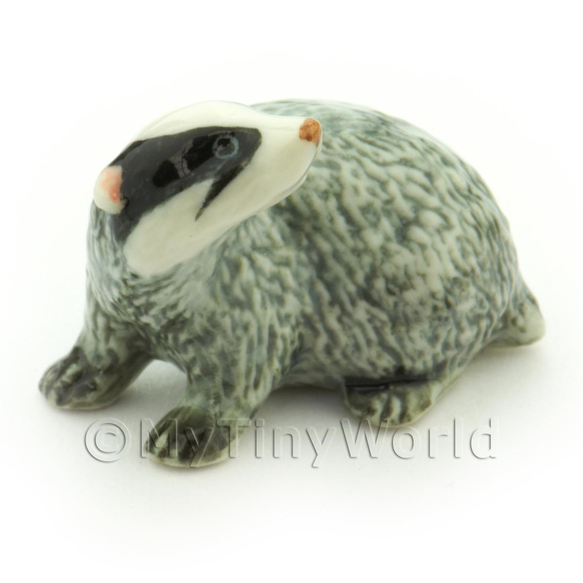 Handmade Dolls House Miniature Ceramic Badger