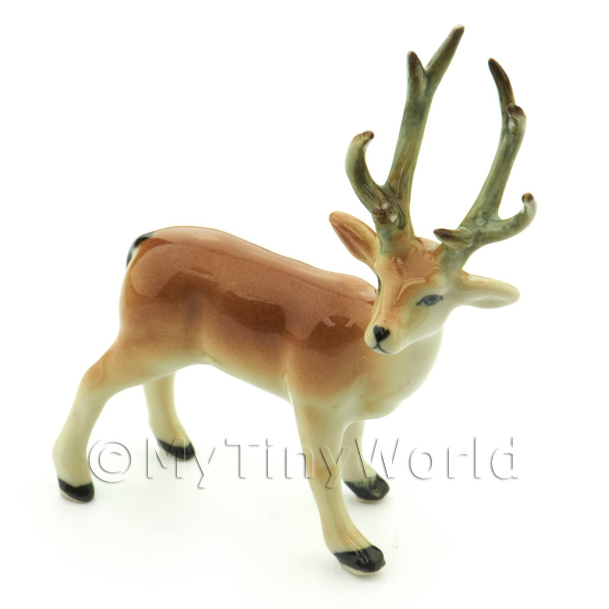 Dolls House Miniature Handmade Ceramic Stag