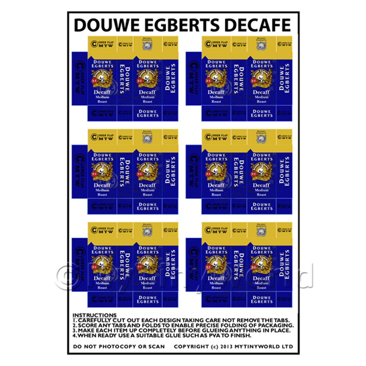 Dolls House Miniature Packaging Sheet of 6 Douwe Egberts Decafe