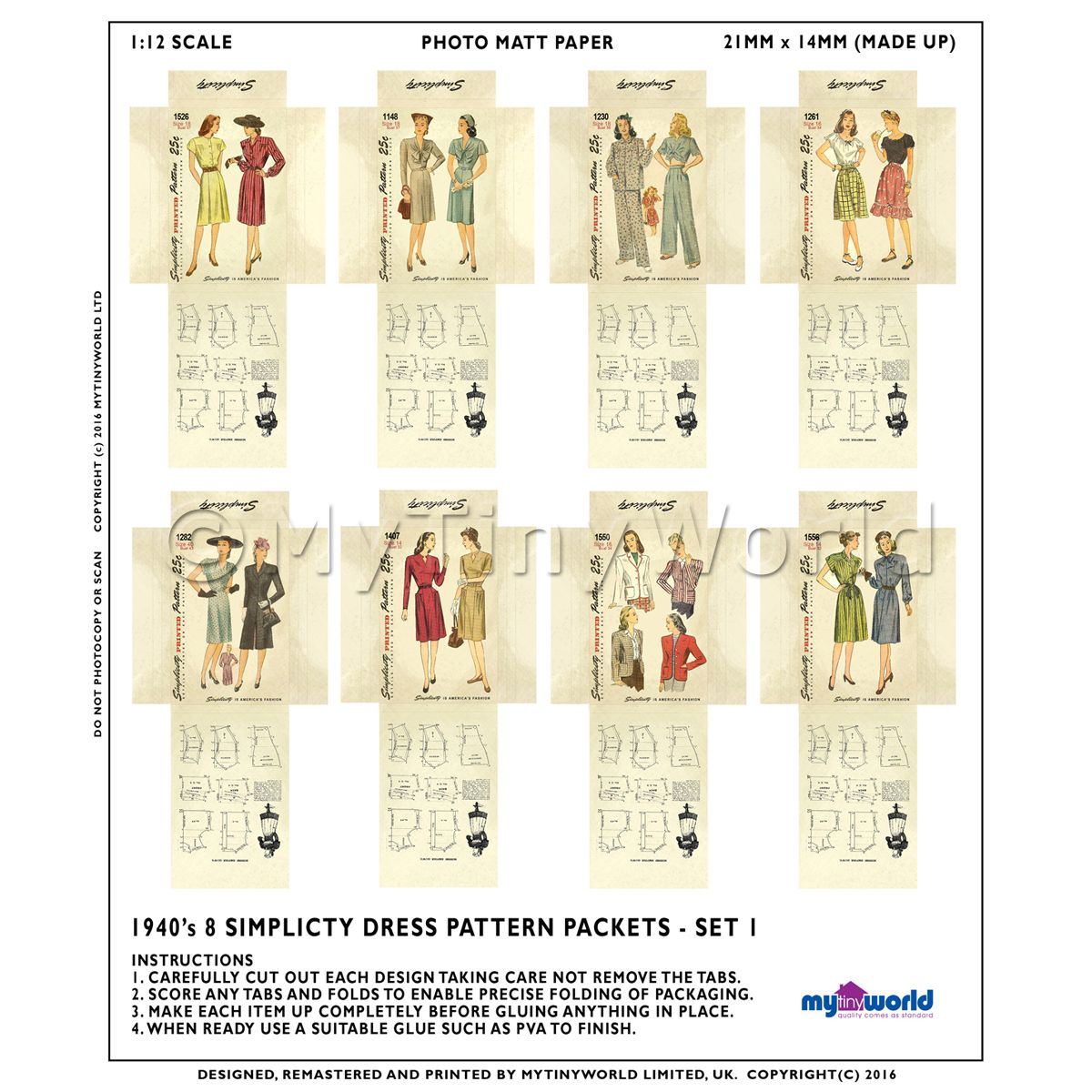 8 Miniature DIY Simplicity Dress Pattern Packets (DPDS01)