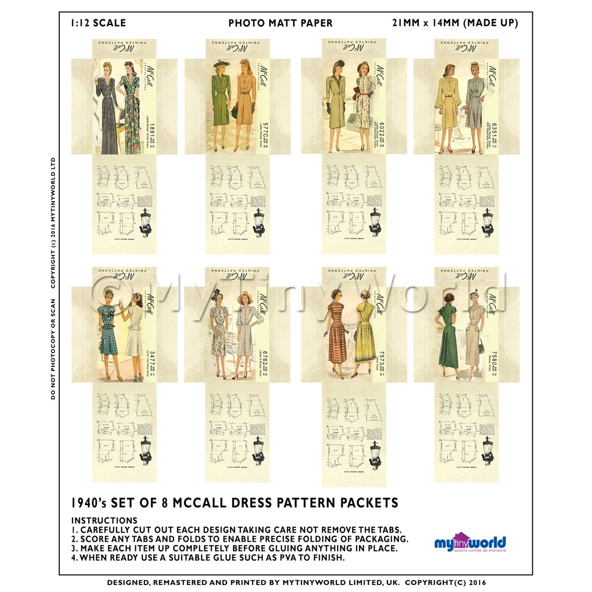 8 Miniature DIY McCall Dress Pattern Packets (DPDS07)