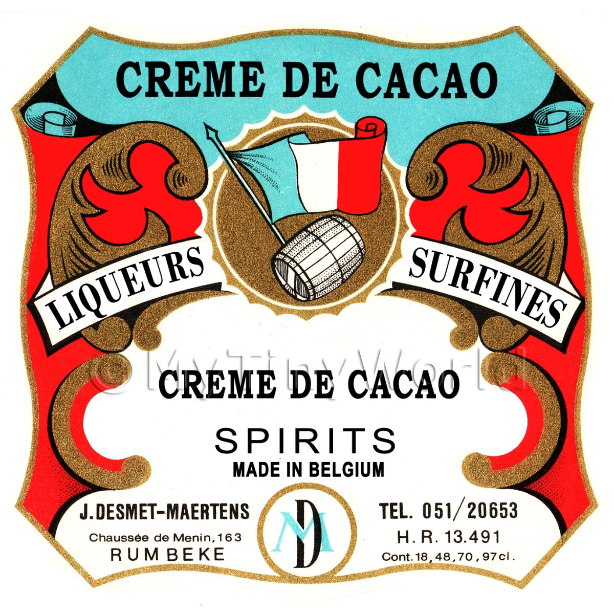 Creme De Cacao Miniature Dolls House Liqueur Label
