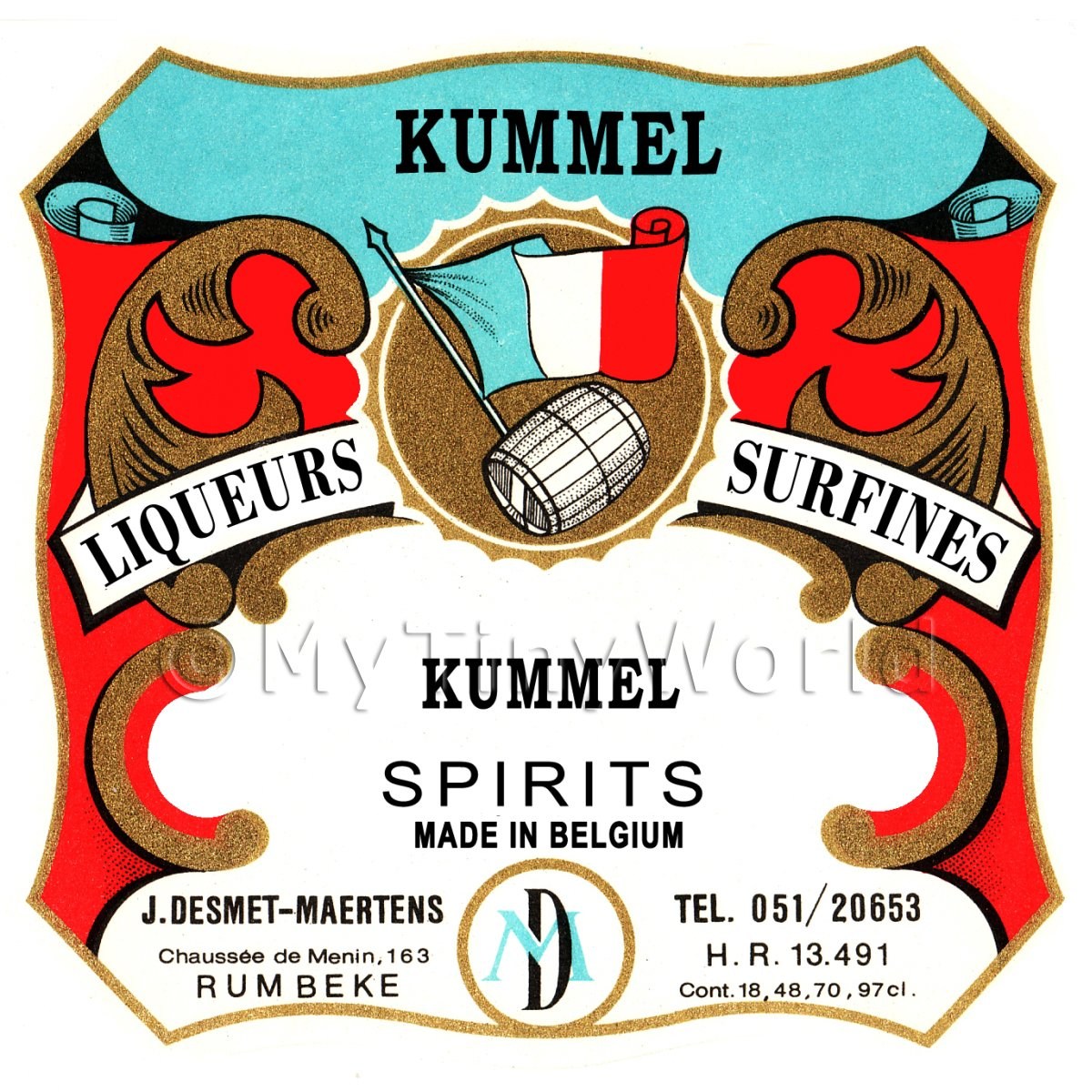 Kummel Miniature Dolls House Liqueur Label