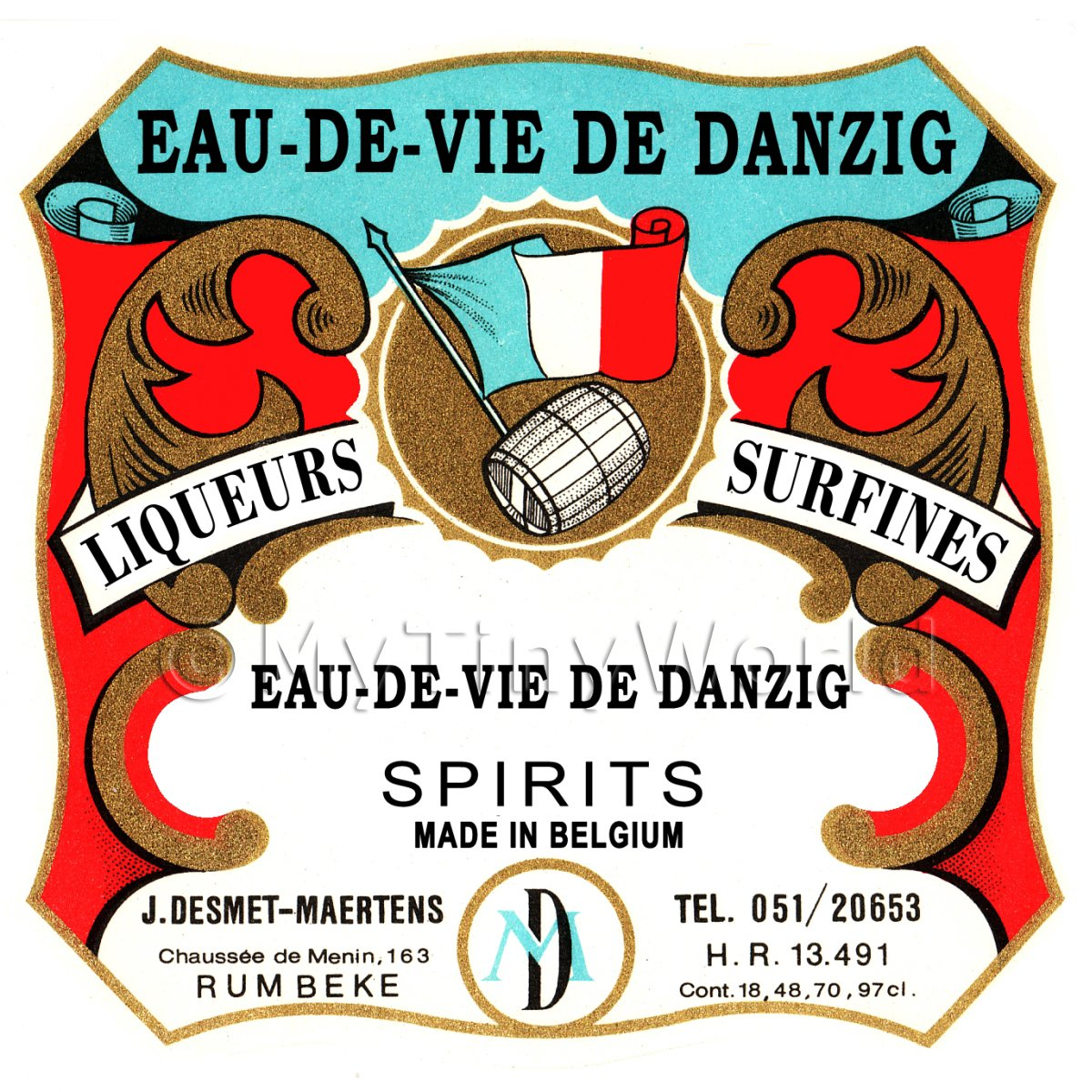 Eau-De-Vie De Danzig Miniature Dolls House Liqueur Label